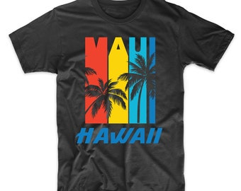 d17e5512 Retro Maui Hawaii Palm Trees Vacation T-Shirt - Men's Maui Shirt