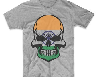 8127e4d71 Indian Flag Skull India Skull Graphic T-Shirt - Men's India Shirt
