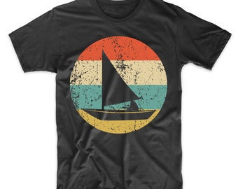 01a783bd97 Sailing Shirt - Vintage Retro Sail Boat Men's T-Shirt - Sail Boat Icon Shirt