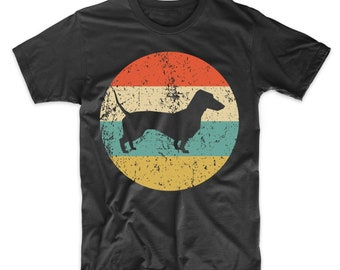 25f8eaef Dachshund Shirt - Vintage Retro Dachshund Men's T-Shirt - Dog Silhouette  Icon Shirt