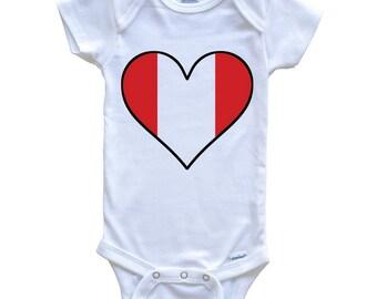 c0df33ace3c Peruvian Flag Onesie - Cute Peruvian Flag Heart - Peru Baby Bodysuit