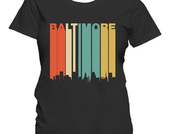 4fd3608f5 Retro 1970's Style Baltimore Maryland Downtown Skyline Women's T-Shirt by  Really Awesome Shirts