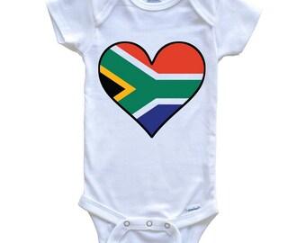 1dc018f59989c South African Flag Onesie - Cute South African Flag Heart - South Africa  Baby Bodysuit