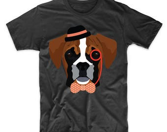 8f2aca7a Hipster Boxer Wearing Monocle And Top Hat Funny Dog T-Shirt by Really  Awesome Shirts