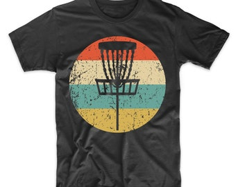 9bb33935 Men's Disc Golf Shirt - Retro Disc Golf Basket Icon T-Shirt