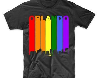 06595d5cb06 Orlando Florida Rainbow Skyline LGBT LGBTQ Gay Pride T-Shirt by Really  Awesome Shirts