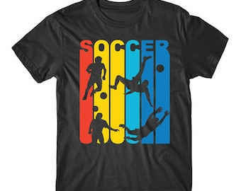 Vintage Retro 1970's Style Rainbow Soccer T-Shirt