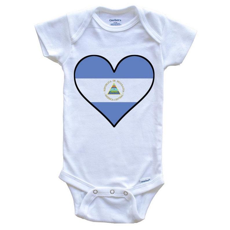 Cute Nicaraguan Flag Heart Nicaraguan Flag Onesie Nicaragua Baby Bodysuit
