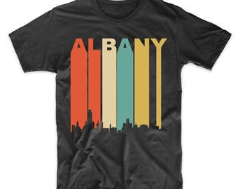 Vintage Retro 1970's Style Albany New York Cityscape Downtown Skyline T-Shirt by Really Awesome Shirts