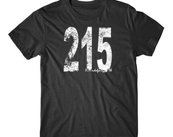 Vintage Style Philadelphia Area Code 215 T-Shirt by Really Awesome Shirts