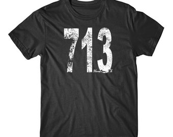 Vintage Style Houston Area Code 713 T-Shirt by Really Awesome Shirts