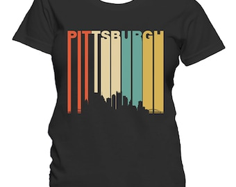 Retro 1970's Style Pittsburgh Pennsylvania Downtown Skyline Women's T-Shirt