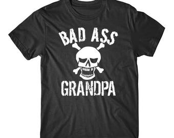 Bad Ass Grandpa Skull Grandparents Day T-Shirt by Really Awesome Shirts