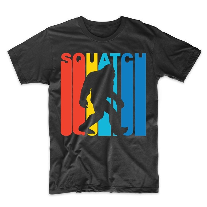 1970s Men's Shirt Styles – Vintage 70s Shirts for Guys Mens Sasquatch Shirt - Vintage 1970s Style Squatch Bigfoot Silhouette T-Shirt $29.99 AT vintagedancer.com