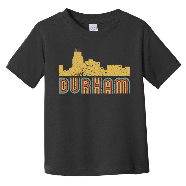 Retro Style Durham North Carolina Skyline Toddler T-Shirt Durham Toddler Shirt