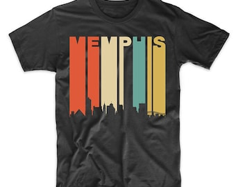 Vintage Retro 1970's Style Memphis Tennessee Cityscape Downtown Skyline T-Shirt by Really Awesome Shirts