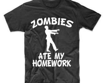 Zombies Ate My Homework Funny Zombie T-Shirt by Really Awesome Shirts
