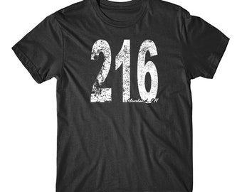 Vintage Style Cleveland Area Code 216 T-Shirt by Really Awesome Shirts