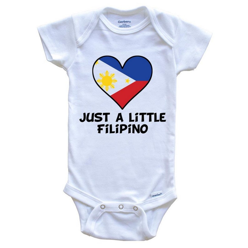 Just A Little Filipino Onesie Funny Philippines Flag Baby Bodysuit