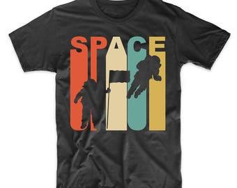 Vintage Retro 1970's Style Astronaut Silhouette Space Science T-Shirt