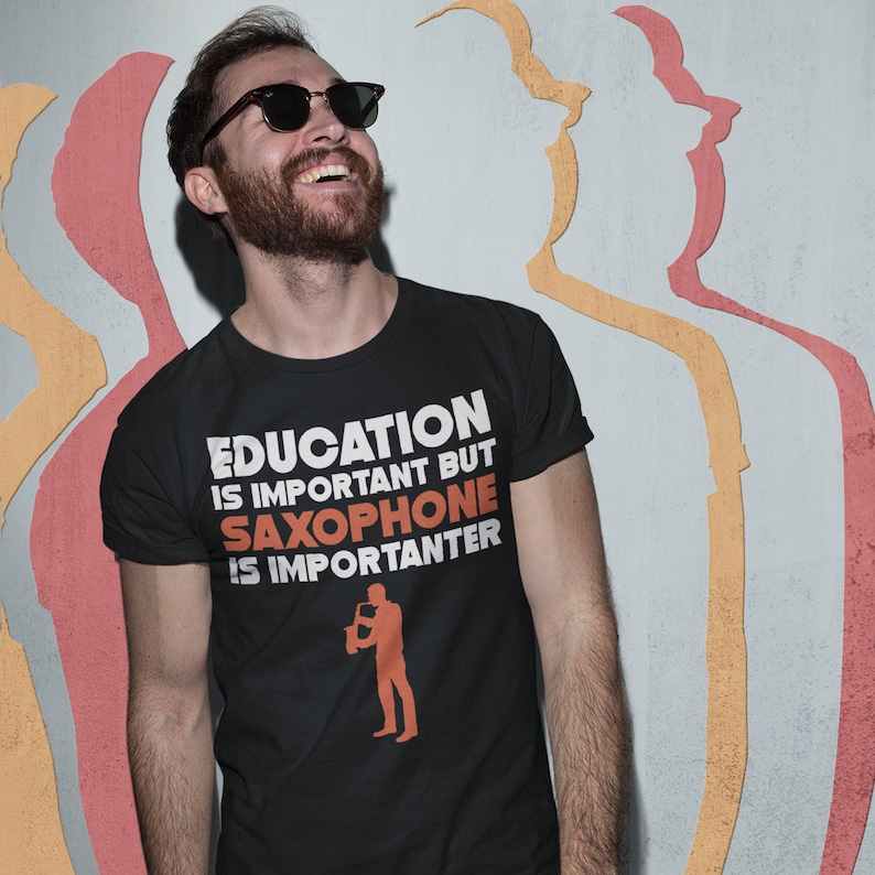 Education is Important But Saxophone Logo is Importanter Kids Tee Shirt 2T-XL