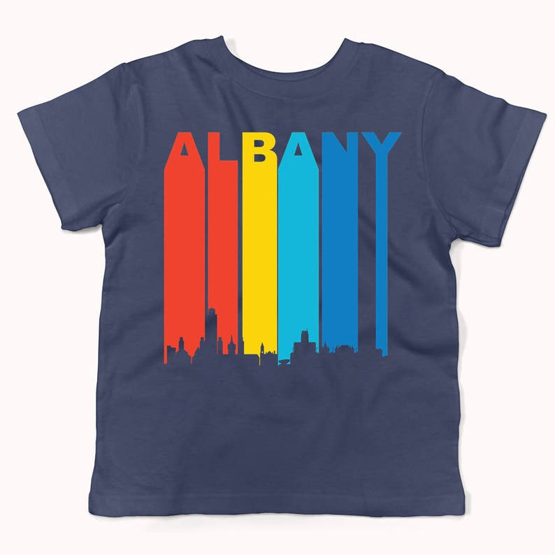 Retro 1970/'s Style Albany New York Cityscape Downtown Skyline Infant  Toddler T-Shirt