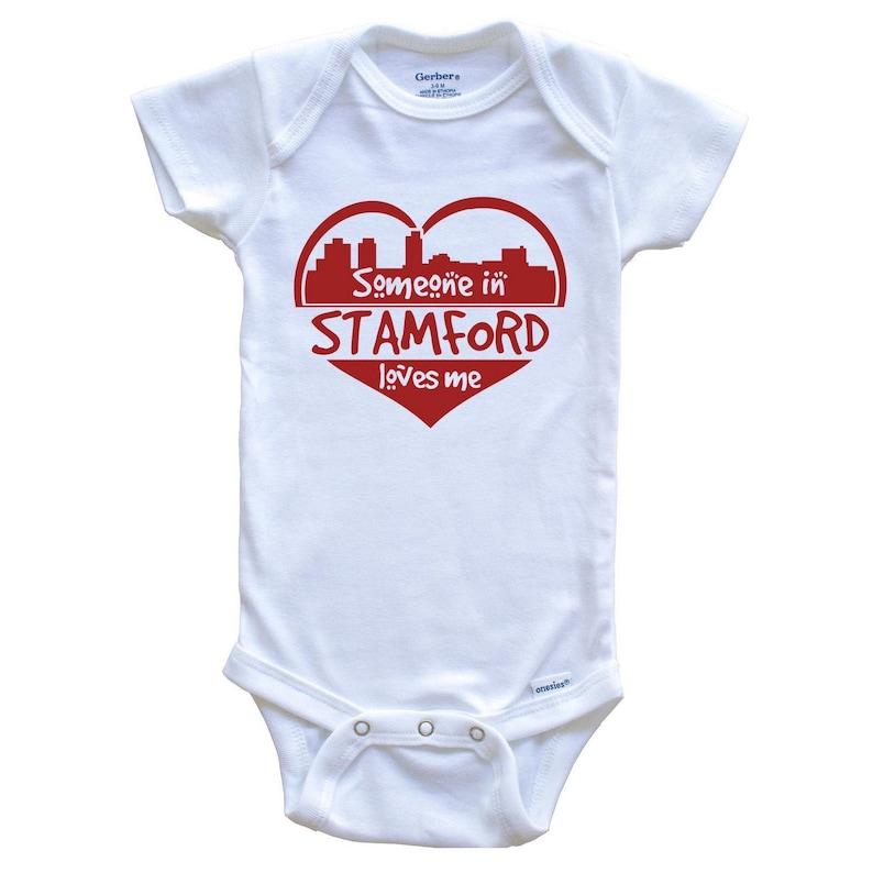 Someone in Stamford Loves Me Stamford Connecticut Skyline Heart Baby Onesie