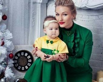 Mère fille correspondant midi robe en coton manches assorties tenues du genou longueur robe, robe pour la mère et fille, maman et moi