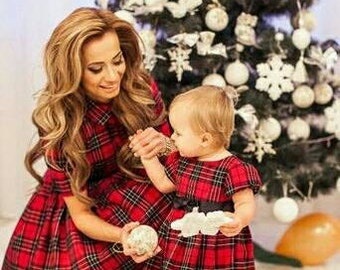 Plaid Mother daughter matching dress,  Tartan Mom Daughter matching maxi dress Plaid dress  long dress Mommy and Me Christmas dress gift