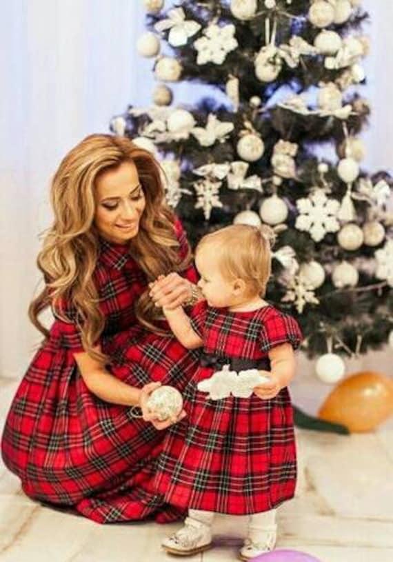 2acb919d0 Plaid Mother daughter matching dress Tartan Mom Daughter