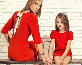 Jersey mother daughter matching midi dress,different colors, Mommy and me knee length dress, dress for mother and daughter