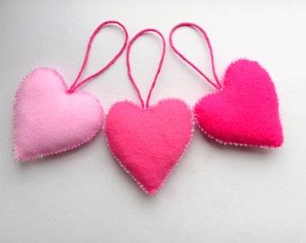 Pink beaded felt heart ornaments (set of 3)