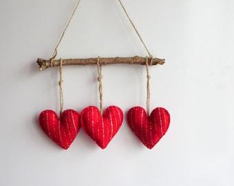 Glitter hearts felt ornament