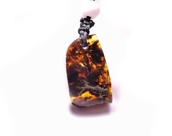 Blue Amber pendant, very nice drawing, handmade unique