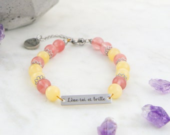 Rise and shine, semi-precious stone bracelet and stainless steel, positive thinking