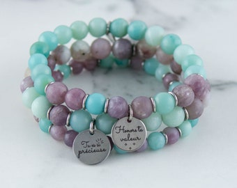 The precious - Trio of bracelets in semi-precious stones and stainless steel, Amazonite, lilac jade,