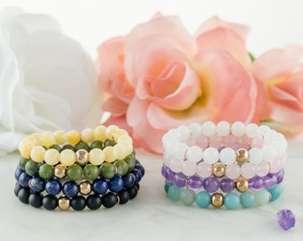 Zeus Bracelet - semi-precious stones bracelet with rose gold stainless steel