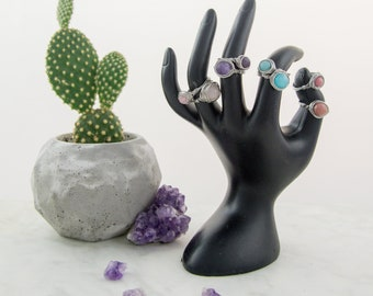 Stainless steel wire ring and semi-precious stone, wire wrapped, 6 or 8mm stone, minimalist, stackable