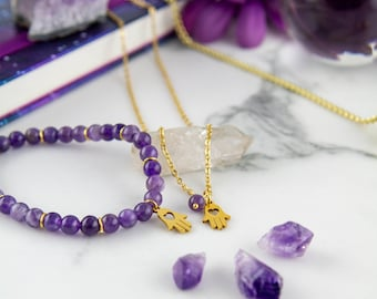 Athena - DUO Elastic bracelet and semi-precious stone necklace Amethyst, GOLD stainless steel