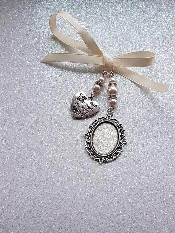 Sac Cadeau cadre photo charme Coeur Charme ovale Argent Médaillon Bouquet de charme