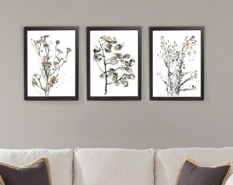 Plant Drawing Set, Watercolor And Ink Botanical Art Set Of 3, Abstract  Brown Beige Wall Prints, Nature Wall Decor, Living Room Art Set