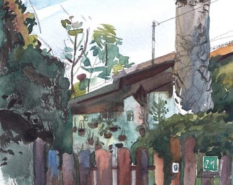 Mahogany Gate, Landscape Watercolor Painting Print, Realistic Artwork, Green Scenery Painting, Living Room Wall Art, Israeli Landscape Print