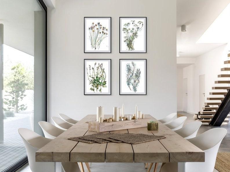 Flower drawing set of 4 prints botanical watercolor image 0