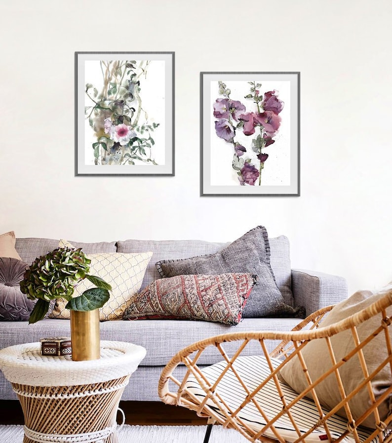 Hollyhock and Bower Plant Watercolor Flowers Pink Purple image 0