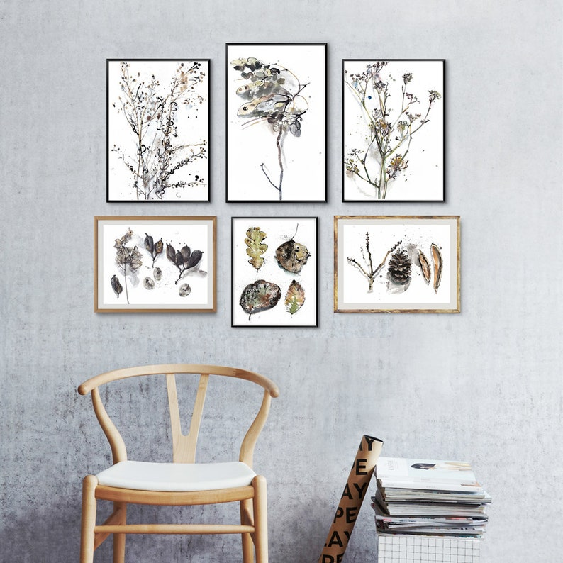 Gallery wall set of 6 prints plants and leaves drawings image 0