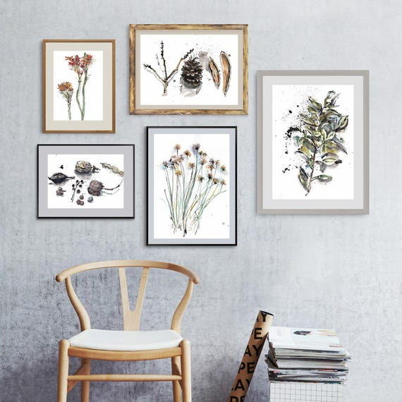 Floral Art Set Of 5 Drawings Watercolor Flower Gallery Wall Etsy - Decorative-floral-print-chairs-from-floral-art