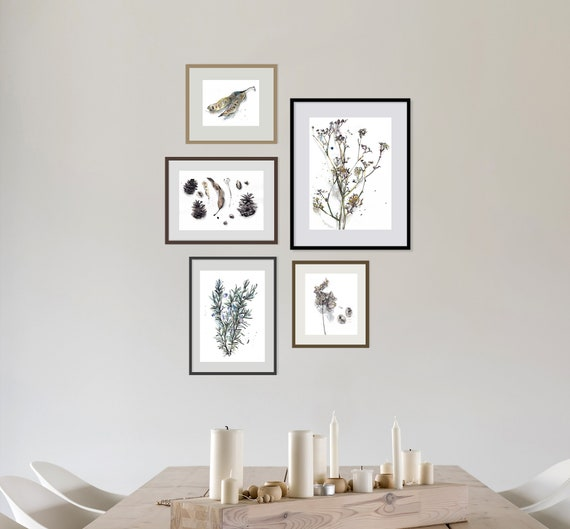 Plant Gallery Wall Art, Botanical Drawing Set of 5, Beige Green Dining Room  Wall Decor, Bedroom Gallery Wall Set, Nature Lovers Gift Ideas