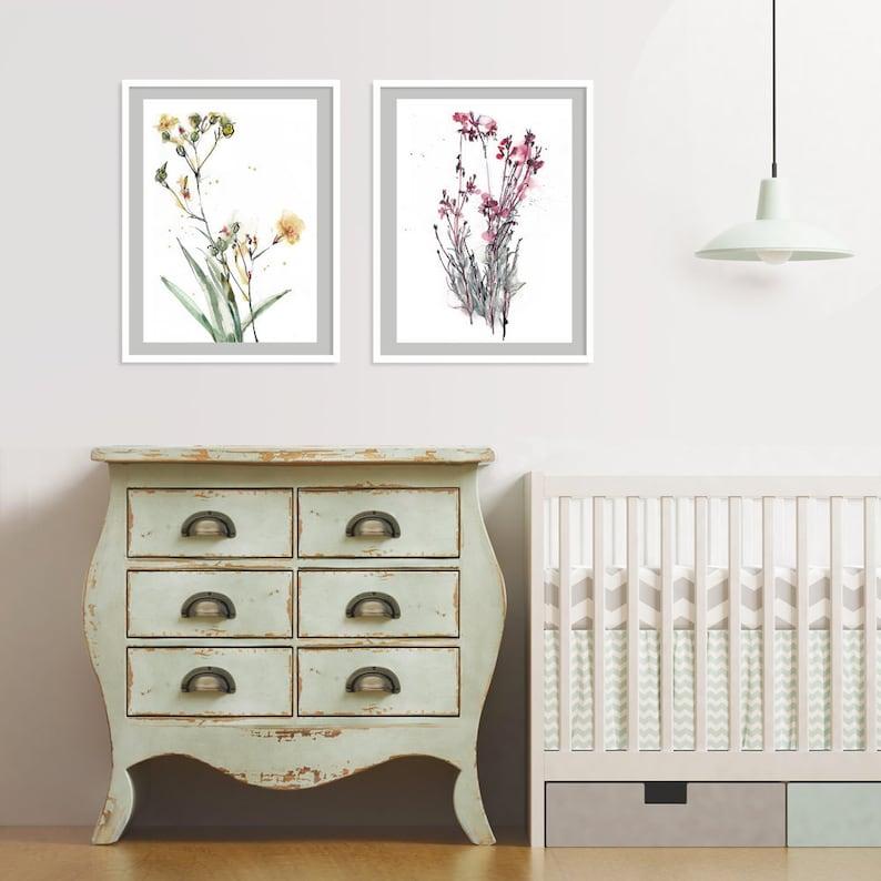 Flowers Watercolor Art Print set of 2 Nursery Floral Wall image 0