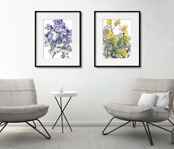 Watercolor Art Flower Decor Morning Glory Painting Set of 2 Flower Painting Watercolor Flower Print Set of 2 Watercolor Painting