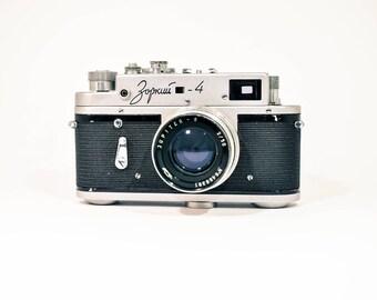 Zorki 4 Camera, Soviet Leica Copy, Camera with lens Jupiter 8 and Original Case, FREE SHIPPING